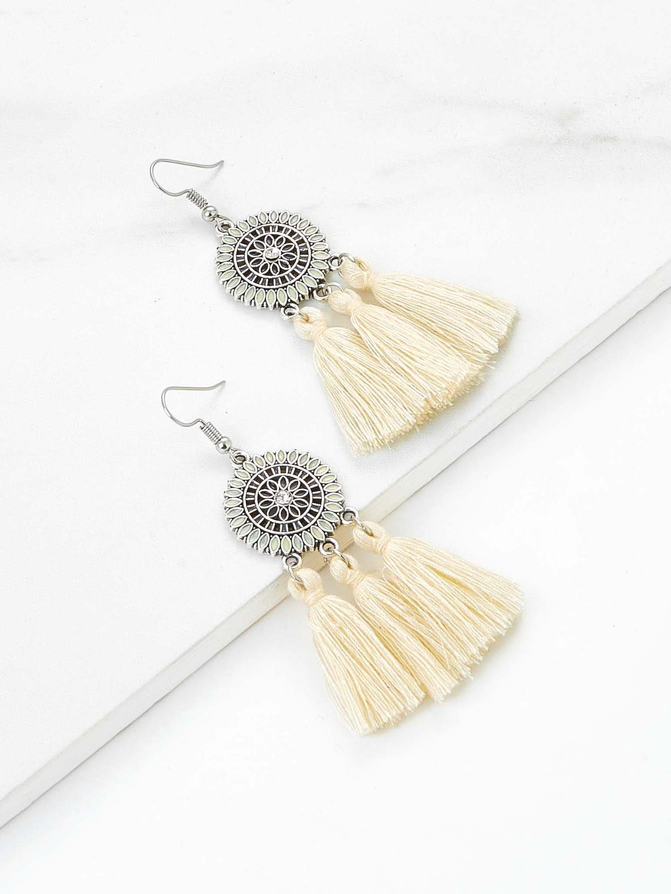 Rhinestone Detail Retro Tassel Earrings цены онлайн