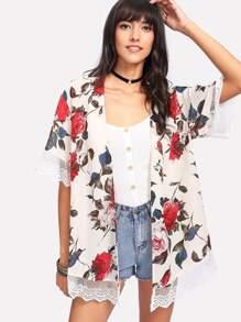 Lace Trim Flower Print Kimono