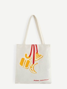 Christmas Heart & Moon Print Tote Bags