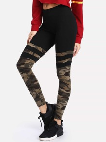 Camo Print Varsity Striped Leggings