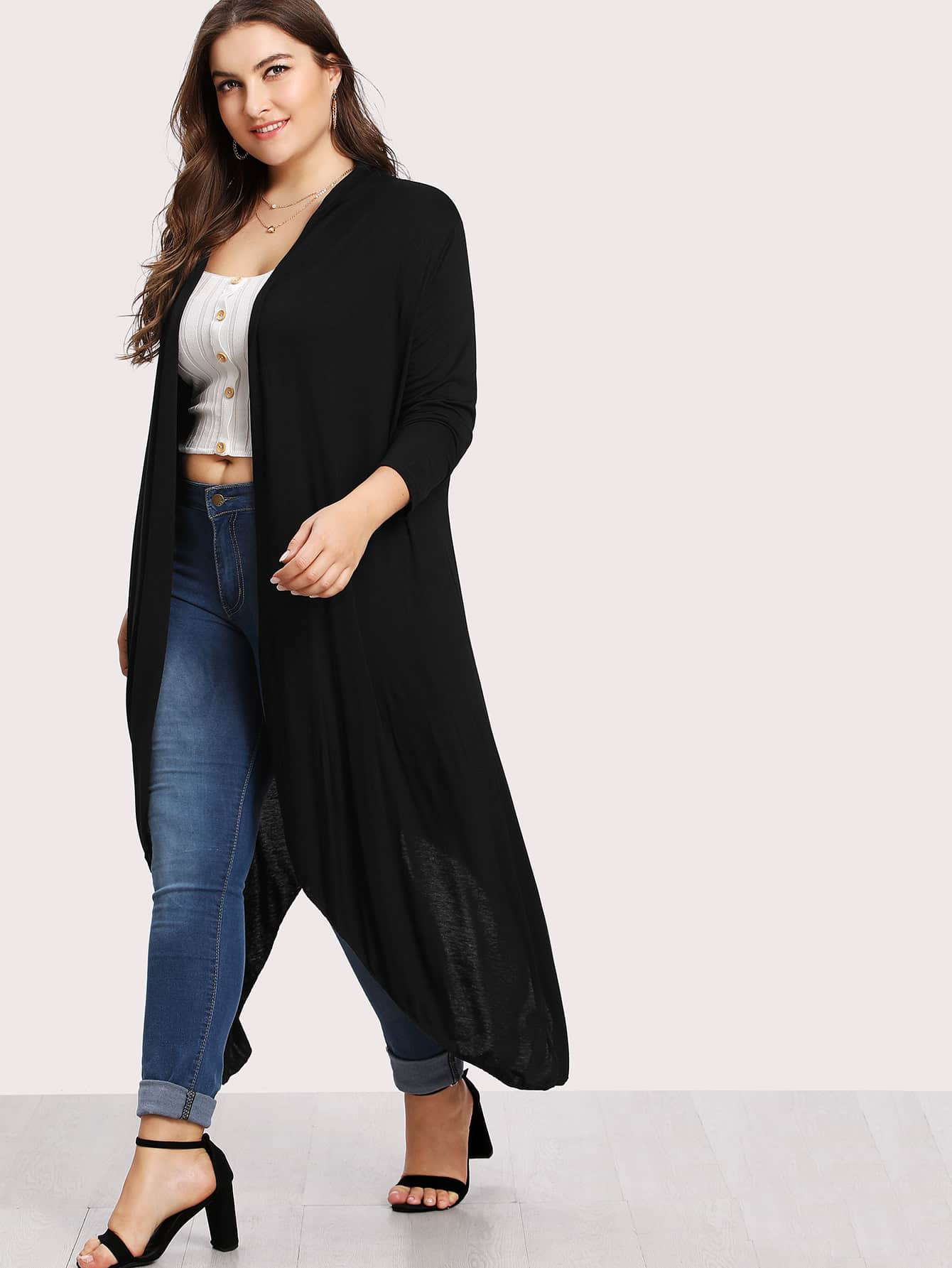 Image of Asymmetrical Hem Cardigan