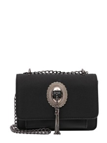Metal Tassel Flap Shoulder Bag