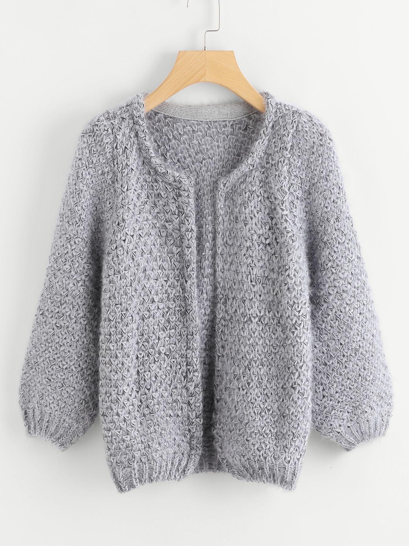 Long Sleeve Mohair Grey Coat