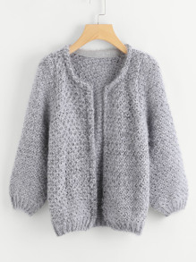 Long Sleeve Mohair Grey Coat