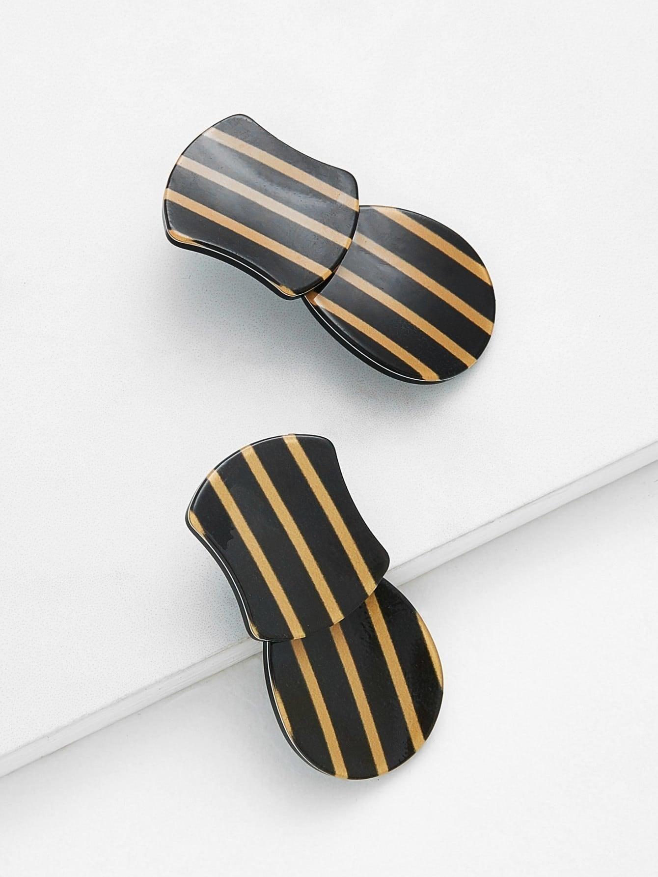 Striped Design Drop Earrings two tone face design drop earrings