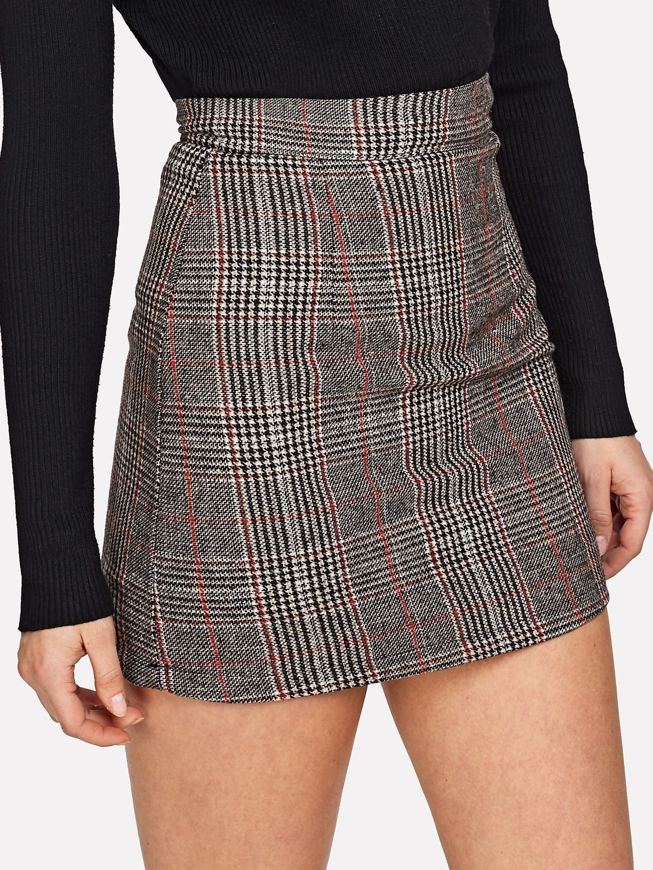Wales Check Zip Back Skirt split front wales check skirt