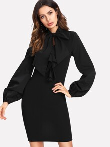 Tie Neck Lantern Sleeve Fitted Dress