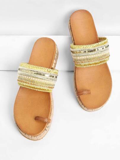 Toe Ring Rhinestone Detail Flat Sandals