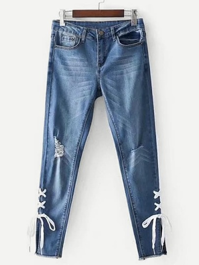 Ripped Detail Lace Up Jeans