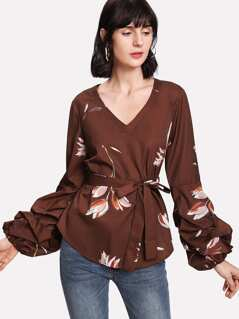 Self Belted Gathered Sleeve Floral Top