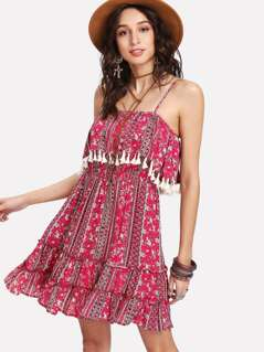 Tassel Trim Ruffle Hem Cami Dress