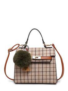 Grid Crossbody Bag With Pom