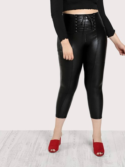 Lace Up Wide Waistband Coated Leggings