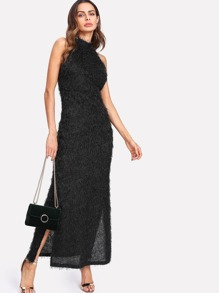 Faux Fur Halter Fitted Dress