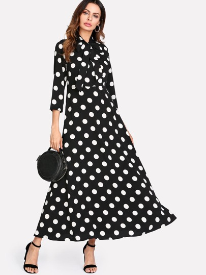 Tie Neck Polka Dot Maxi Dress