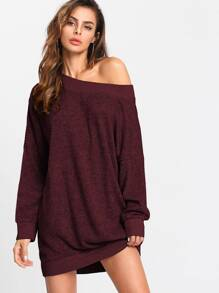 Off Shoulder Marled Knit Dress