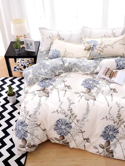 1.8m 4Pcs Flower Print Bed Sheet Set