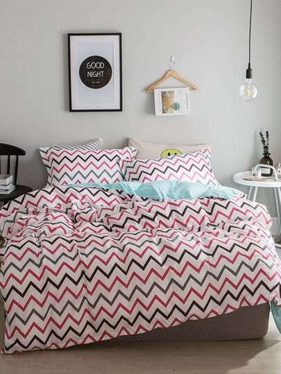 2.2m 4Pcs Chevron Muster Bettlaken Set