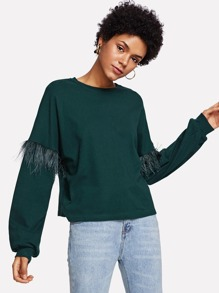 Feather Contrast Sleeve Sweatshirt