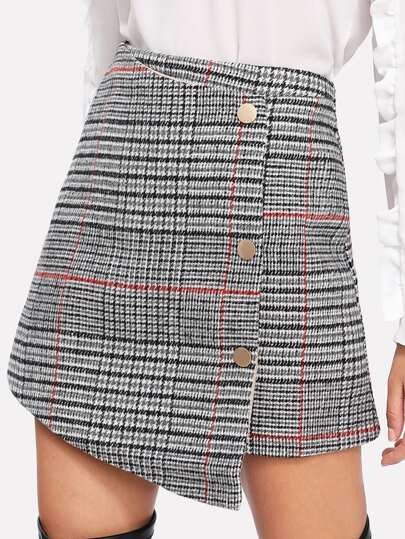 Glen Plaid Overlap Skirt