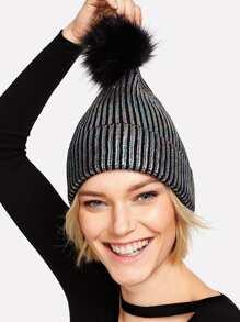 Pom Pom Metallic Beanie Hat