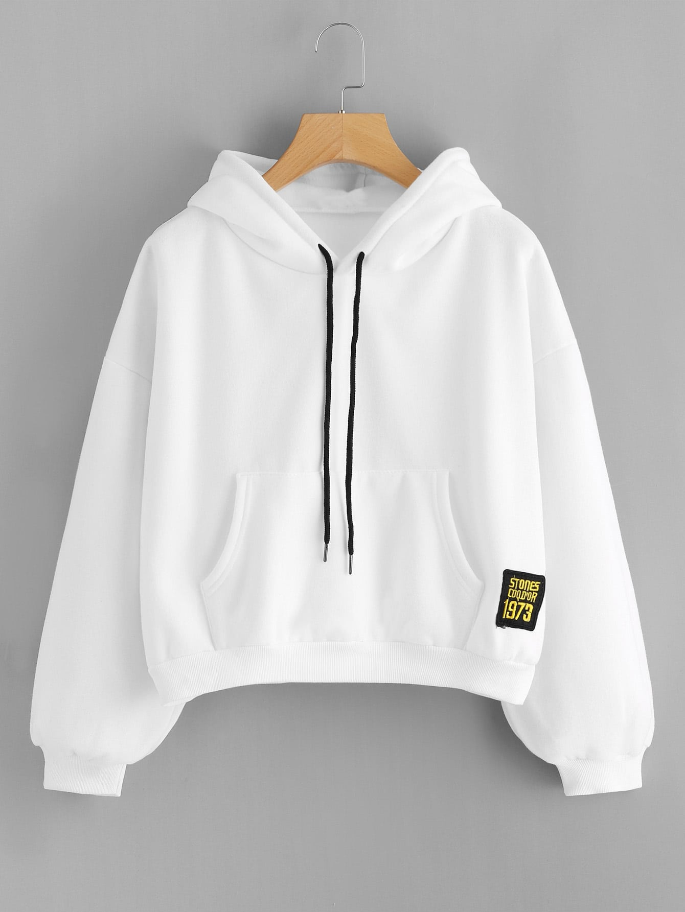 Drop Shoulder Patch Detail Hoodie hooded drop shoulder patch sweatshirt
