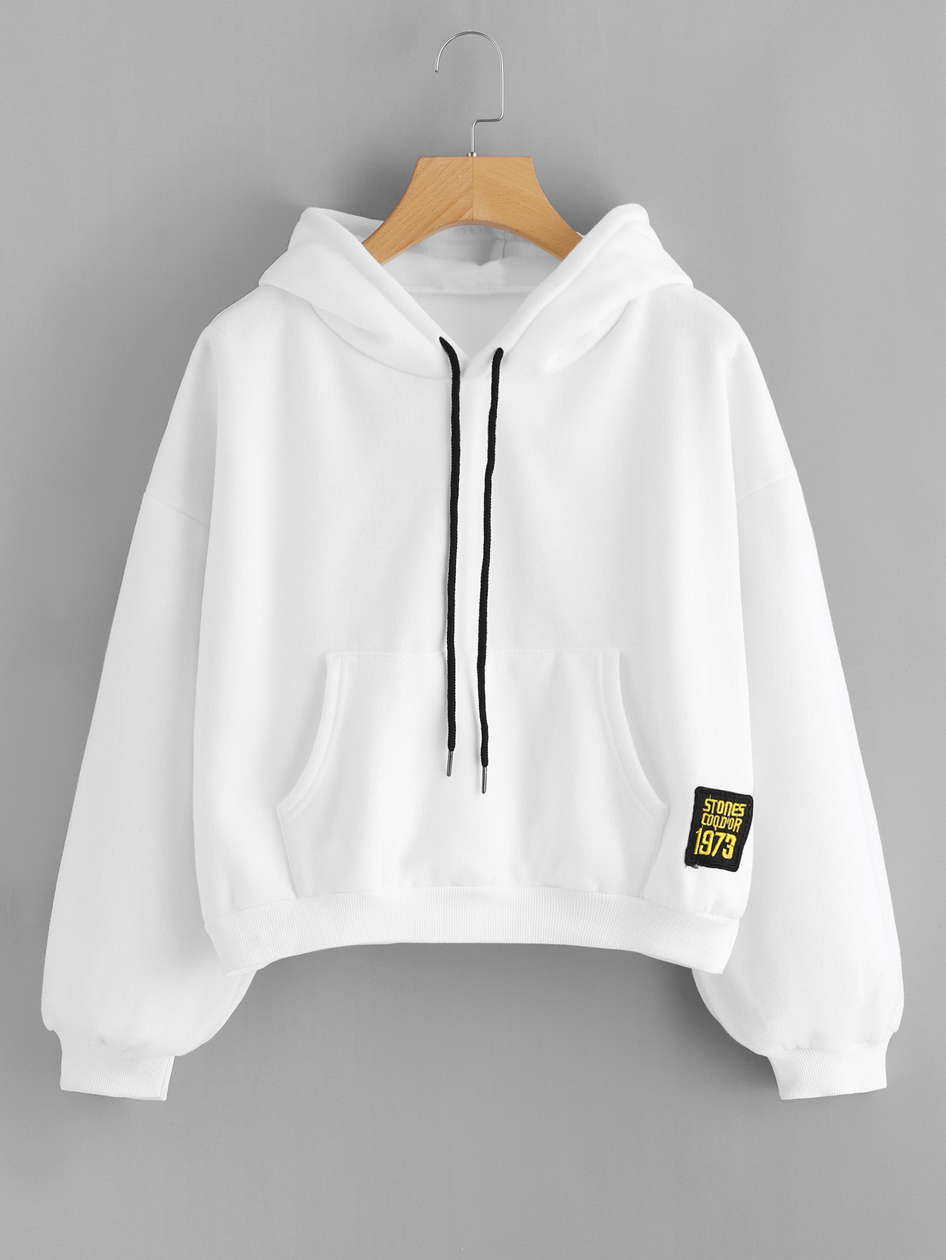 Drop Shoulder Patch Detail Hoodie drop shoulder grommet tie detail sweatshirt