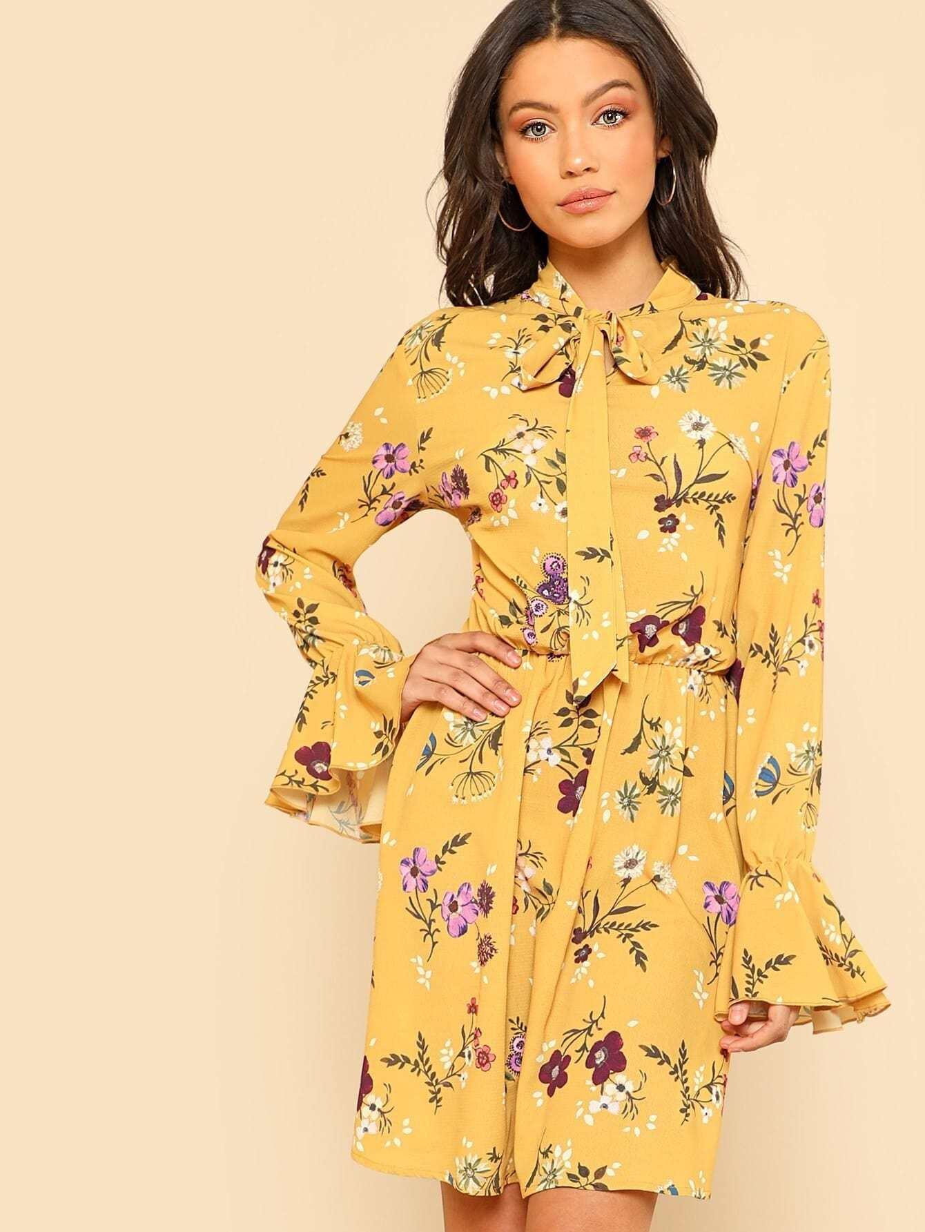 Tie Neck Elastic Waist Floral Dress -SheIn(Sheinside)