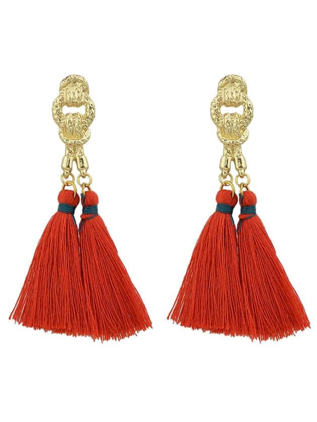 Red Colorful Handmade Tassel Boho Earrings For Women