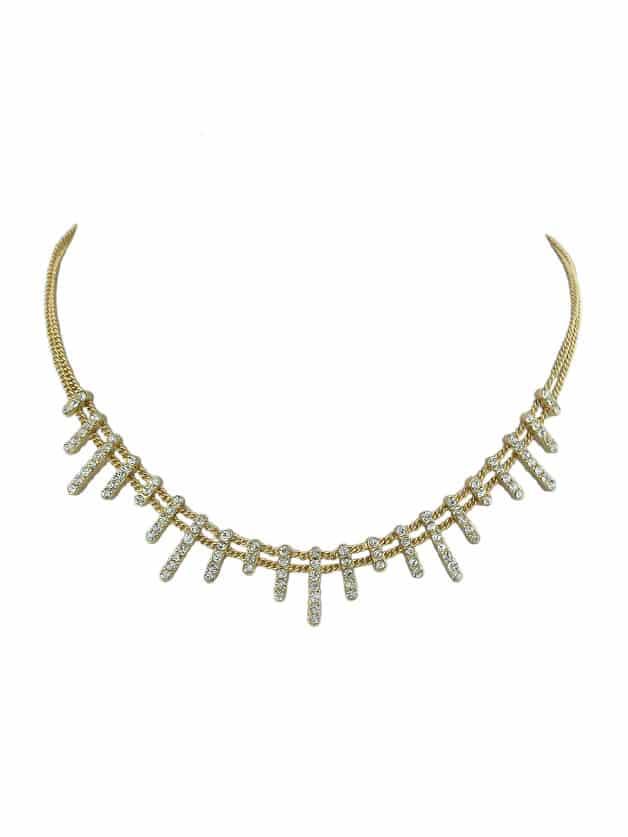 Full Diamond Luxury Choker Necklace silver full heart diamond necklace