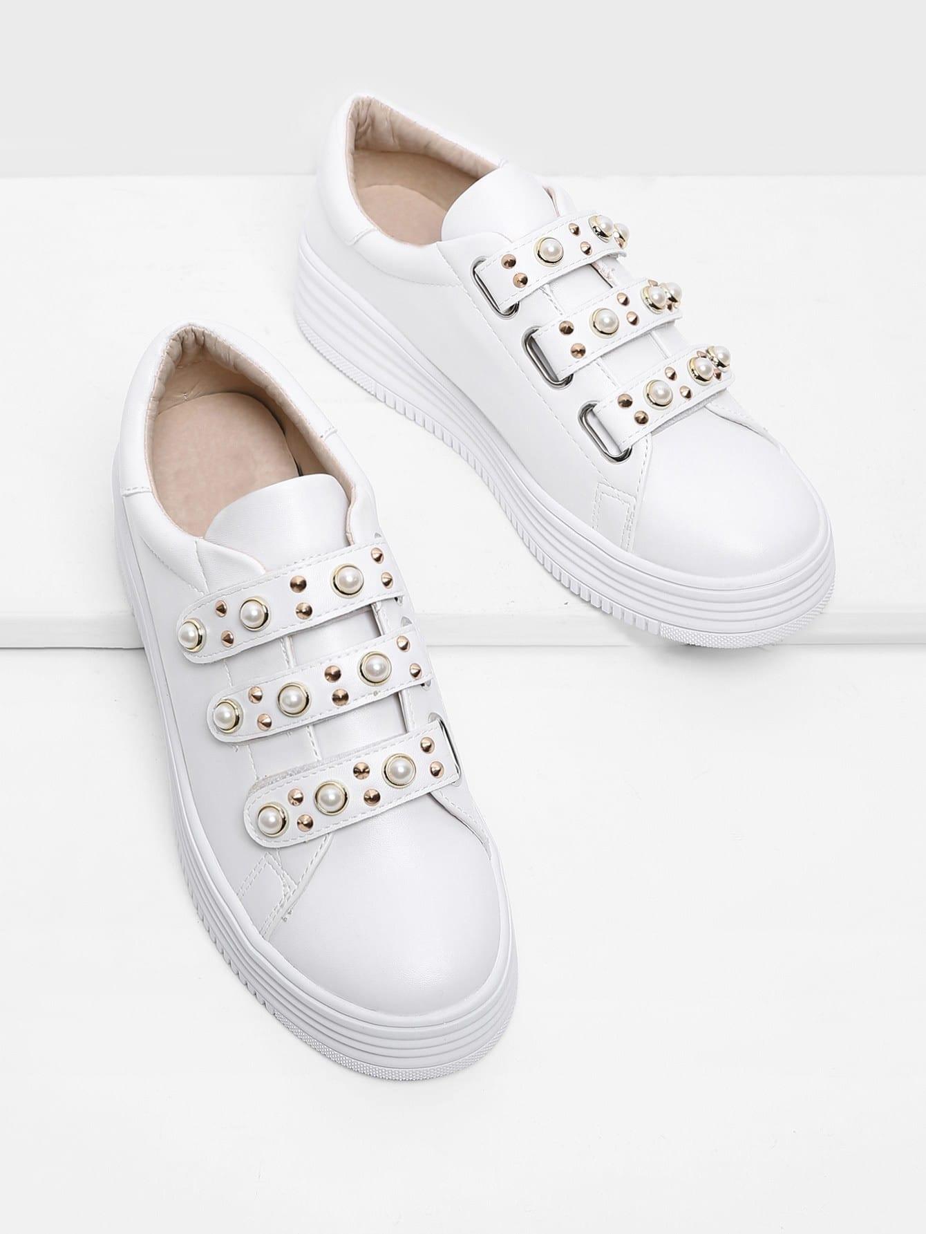 Faux Pearl Velcro PU Sneakers