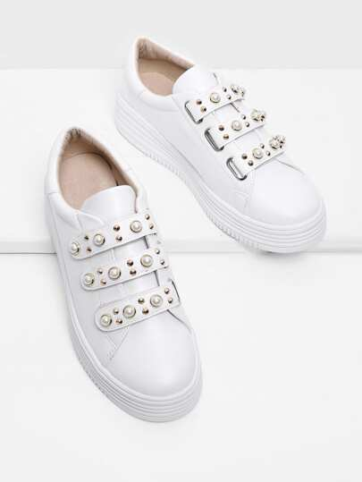 Zapatillas PU Velcro con perla artificial