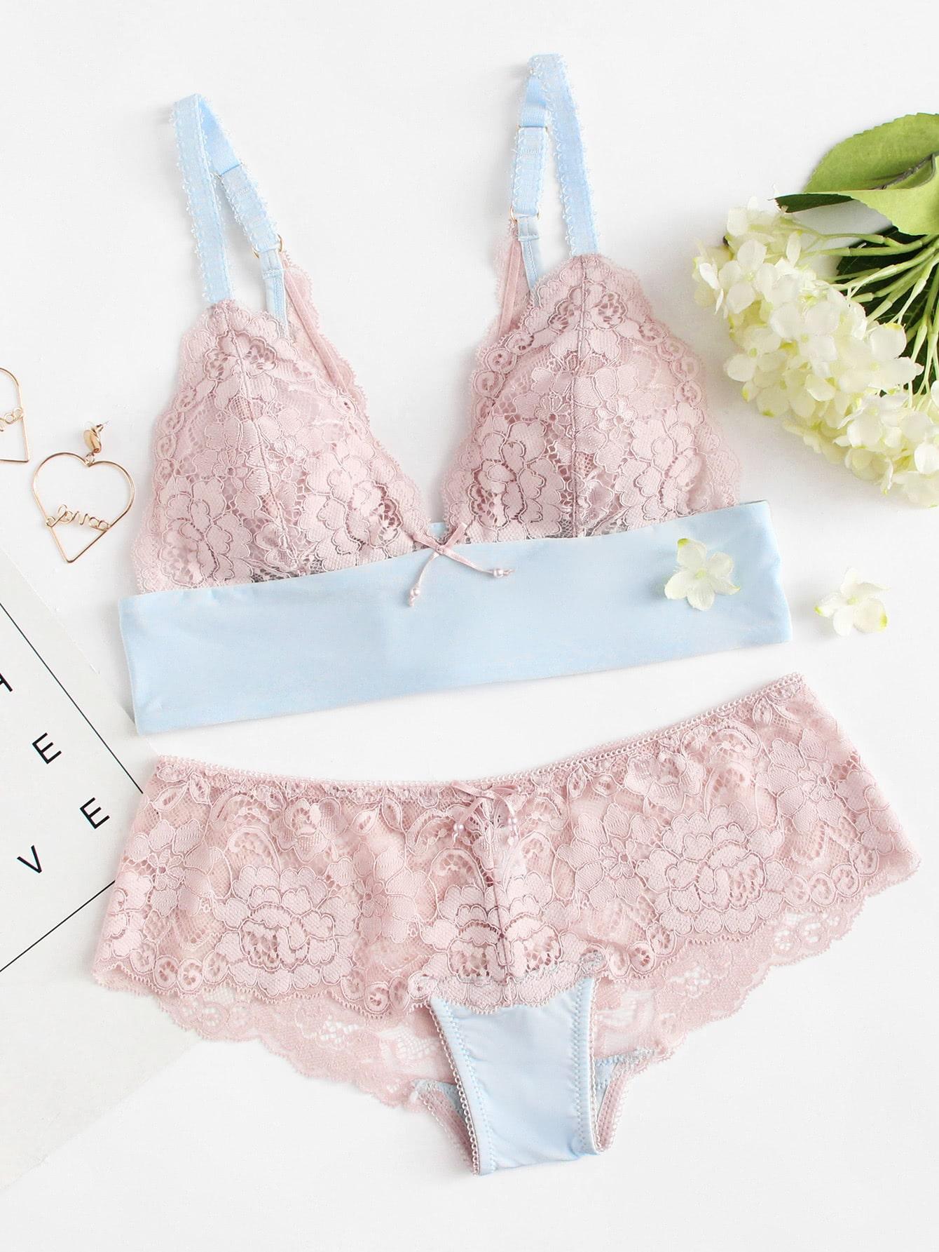 Floral Lace Lingerie Set кордщетка атака 22385