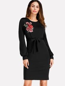 Embroidered Applique Slit Back Sheath Dress