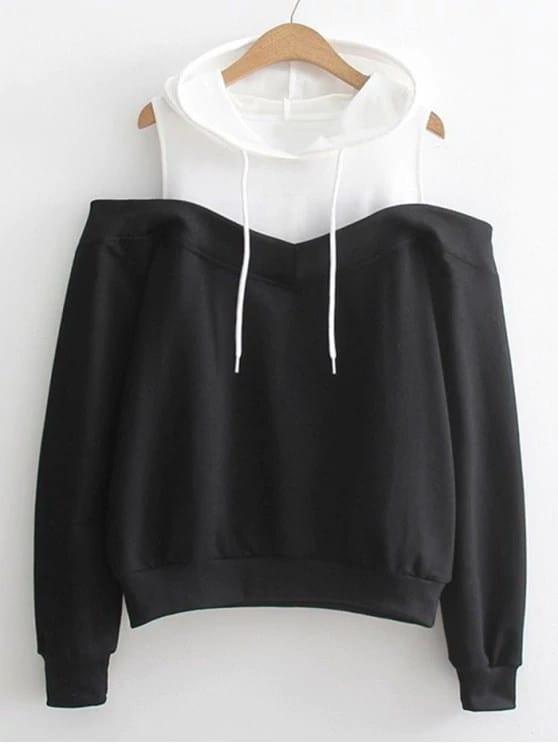 Open Shoulder Color Block Hoodie open shoulder solid hoodie