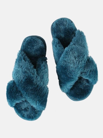 Fuzzy Criss Cross Slippers TEAL