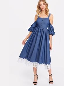 Cold Shoulder Button Up Contrast Lace Hem Dress