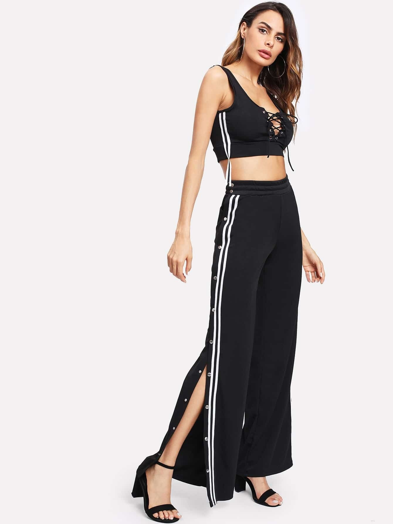 Lace Up Front Button Side Wide Leg Pants bow tie side wide leg pants