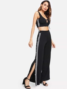 Lace Up Front Button Side Wide Leg Pants