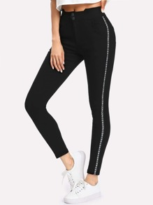 Letter Print Side Leggings