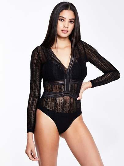 Cut Out Back Plunging Transparent Bodysuit