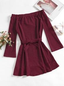Off Shoulder Tie Waist Dress