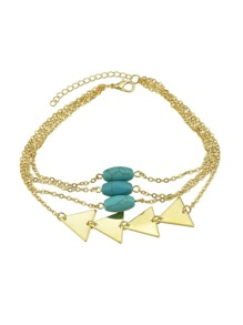 Gold Multi Layers Bangles Chain With Blue Beads Triangle Shape Arm Bracelets