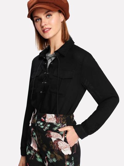 Lace Up Pocket Front Shirt