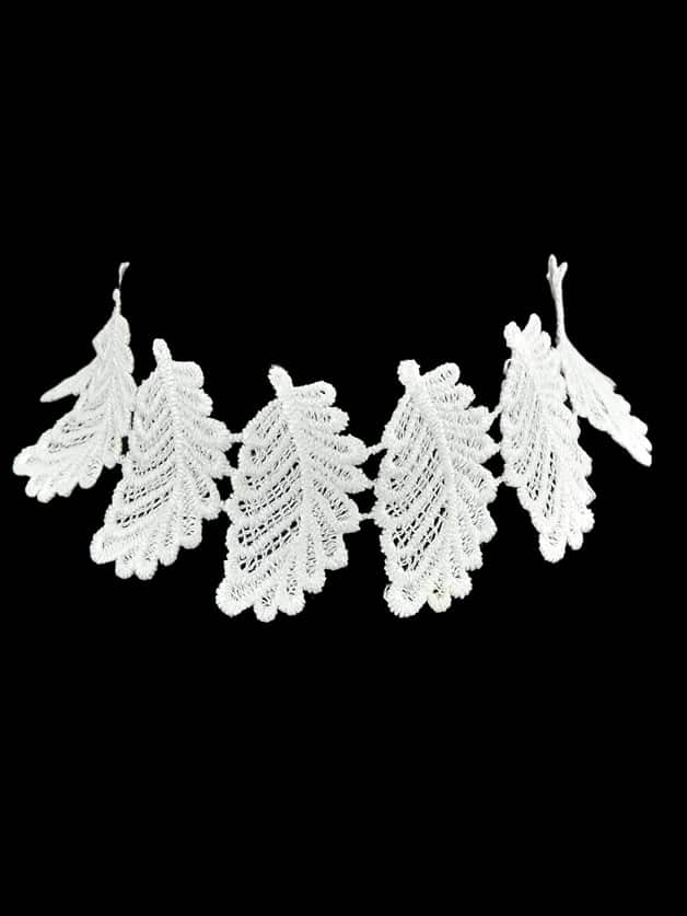 Choker Maxi Necklace Hollow Out Wide White Lace Leaf Shape Choker fashion white hollow out lace metal chain choker necklace