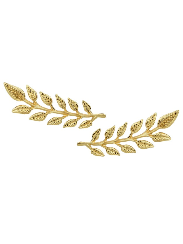 2 Pcs/Pair Fashion Gold-Color Leaf Brooches Pin Tie Clips
