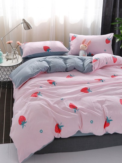 2.0m 4Pcs Fruit Print Duvet Cover Set