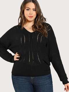 Oversize Knit Long Sleeve Sweater BLACK