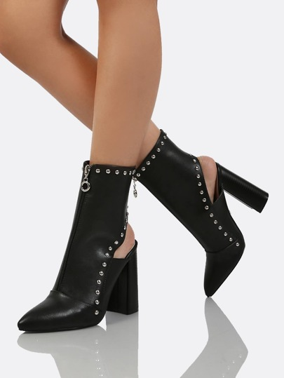 Front Zipper Stud Accent Open Back Ankle High Boots BLACK