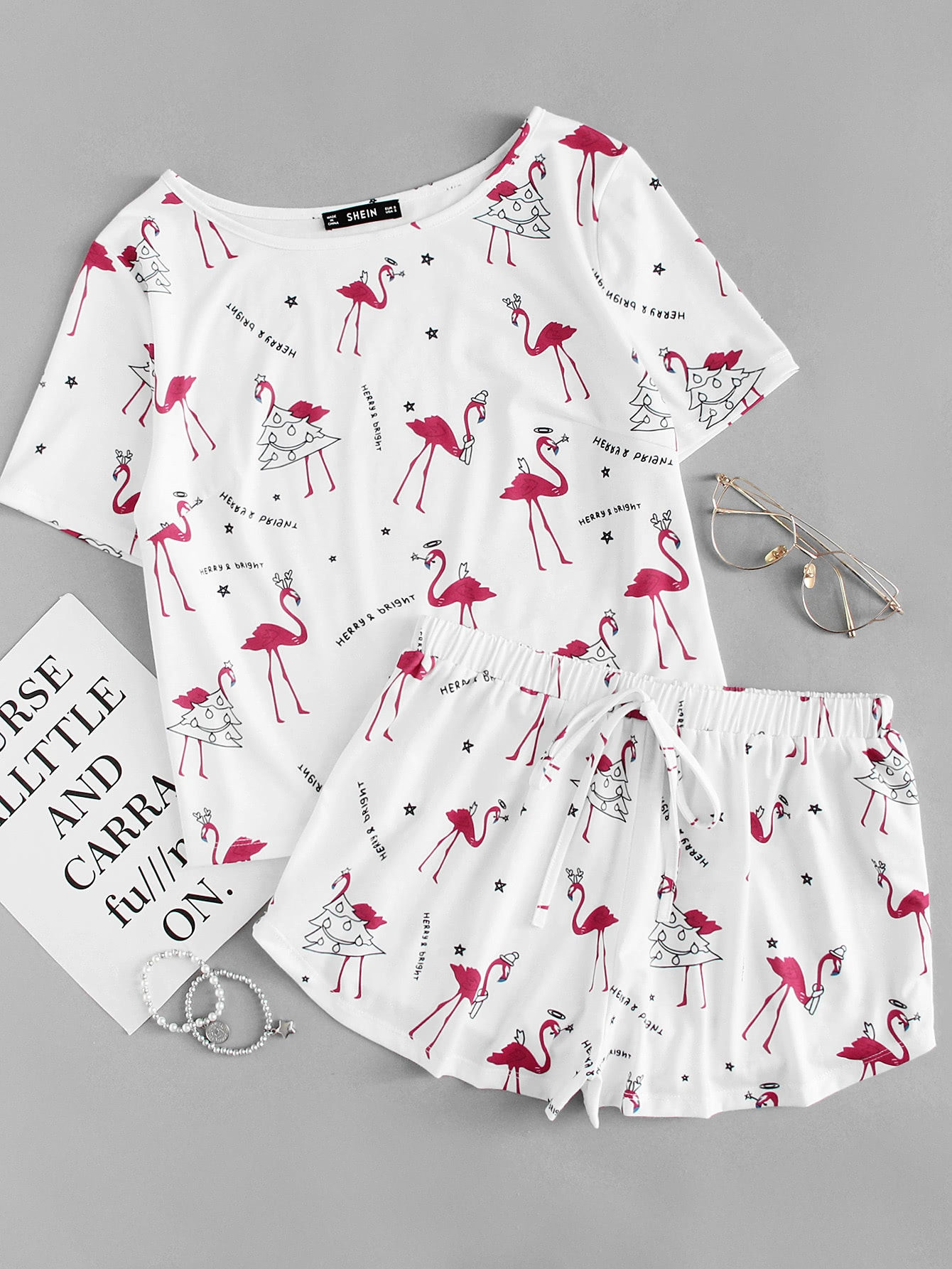 Allover Flamingo Print Tee & Shorts PJ Set allover flamingo print tee